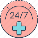 convenience, medical, medical service, service, twenty four by seven icon