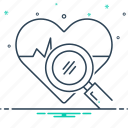 analysis, cardiogram, health, health analysis, search icon