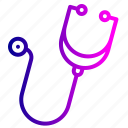 breath, doctor, heart, instrument, listen, medical, stethoscope icon