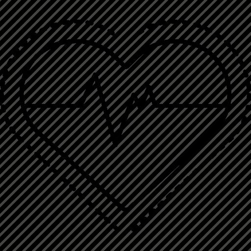 cardiac, heart, heart rate, pulse, rate icon