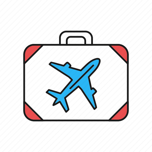 airplane, briefcase icon