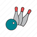 ball, bowling, pin