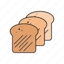baking, bread, food, loaf, slices, toast icon