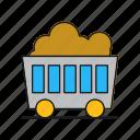 cart, coal, mine, wagon icon