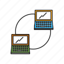 connected, networking, server, laptop, sharing icon