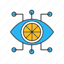 connected, server, communication, eye, wires, with icon