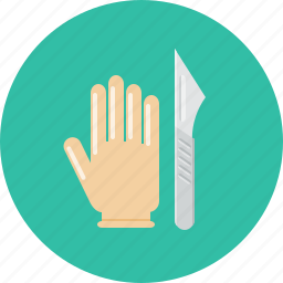 glove, medical, plastic surgery, scalpel, surgery icon