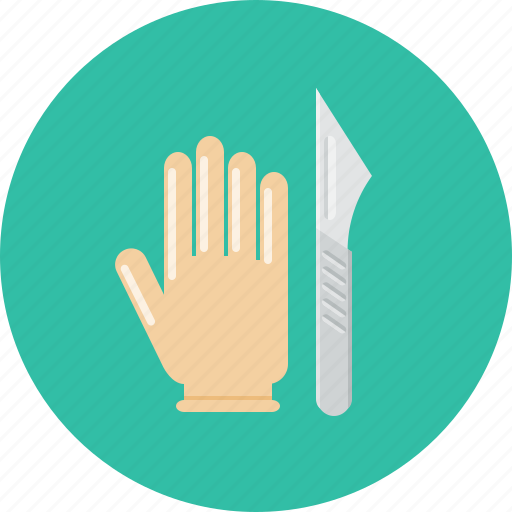 glove, medical, plastic surgery, scalpel, surgery icon
