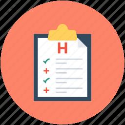 clipboard, hospital report, medical report, medicine chart, prescription icon