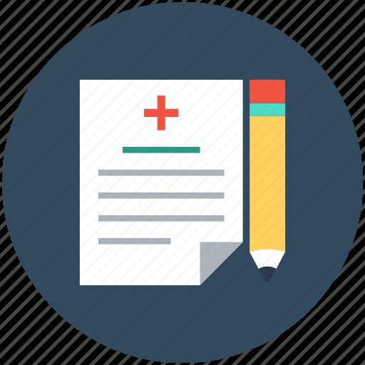 medical report, medications, medicine chart, pencil, prescription icon