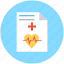 ecg report, medical report, medications, medicine chart, prescription icon