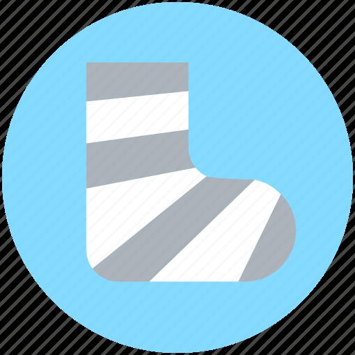 broken leg, feet plaster, fracture, injury plaster, limb plaster icon