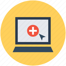 hospital laptop, hospital records, laptop, online aid, online first aid icon