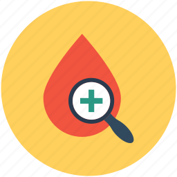blood analysis, blood drop, blood examine, blood test, magnifier icon