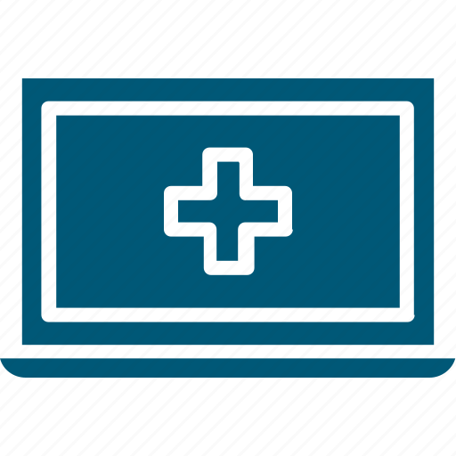 hospital laptop, laptop, medical aid, online aid, online first aid icon
