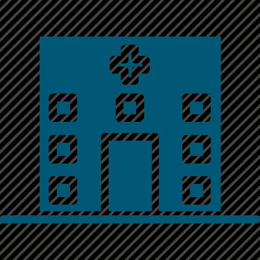 health clinic, hospital, hospital building, medical center, medical facility icon