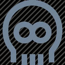 bones, danger, head, healthcare, line, medical, skull icon