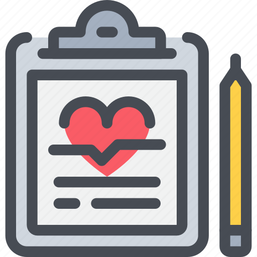 clipboard, healthcare, heart, hospital, medical, report icon