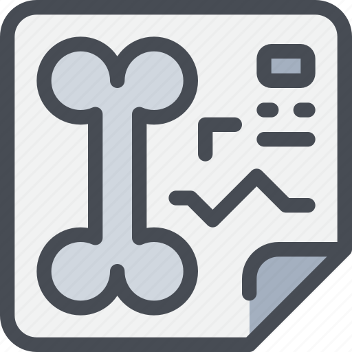 bone, document, healthcare, hospital, paper, report icon