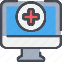computer, healthcare, hospital, medical icon