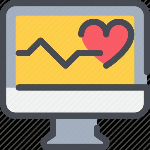 cardiogram, computer, healthcare, heart, hospital icon