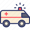 ambulance, emergency, siren, trasnportation, vehicle icon