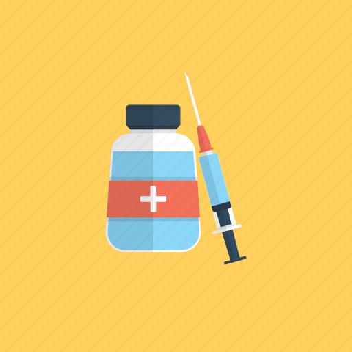 artificial induction of immunity, immunization, injection, inoculation, preventive medicine, vaccination icon
