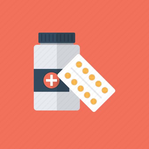 antibiotic, medicine jar, pill bottle, plastic tablet container, prescription drug icon