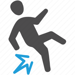 crash, crashing, falling, slip, slipped icon