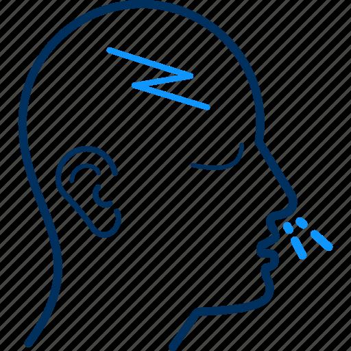 cold, headache, ill, patient icon