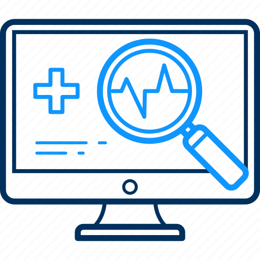 computer, medical, report, scan, search icon