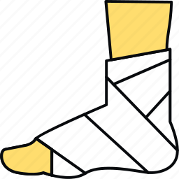 bandage, foot, fracture, injury, medical, plaster icon
