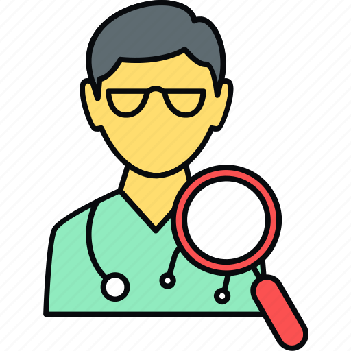 checkup, doctor, medical, search icon