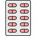 drugs, medicine, medicines, pills, pills strip, strip of medication, tablets icon