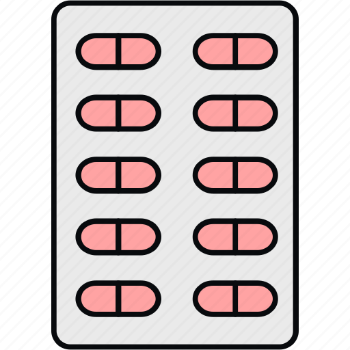 drugs, medicine, medicines, pills, pills strip, strip of medication, tablets icon