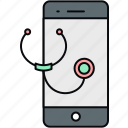 mobile, online, stethoscope, telephone, telephonic, treatment icon