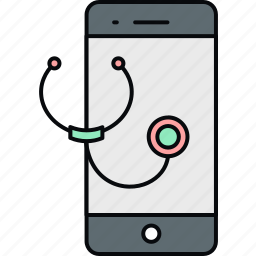 mobile, online, stethoscope, telephone, telephonic, treatment icon