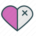 half, heart, mark icon