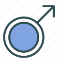 arrow, circle, male, man, mark icon