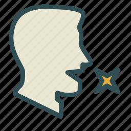 avatar, breath, face, man, star icon