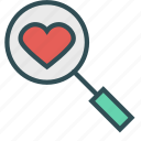 examination, glass, heart, magnifying, search icon