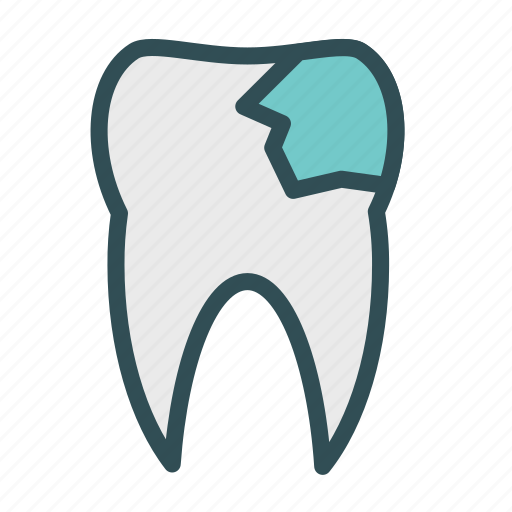 broken, chipped, teeth, tooth icon