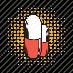 antibiotic, capsule, comics icon, drug, medical, pill, vitamin icon