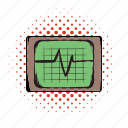 beat, cardiogram, comics icon, electrocardiogram, heartbeat, pulse icon