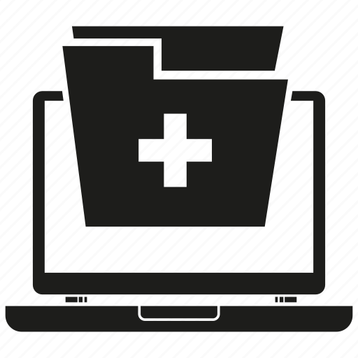 computer, file, folder, laptop, medical file, medical folder, record icon