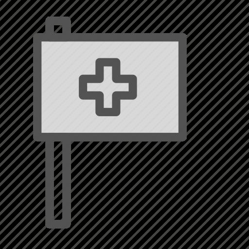 cross, flag, medical, pole icon
