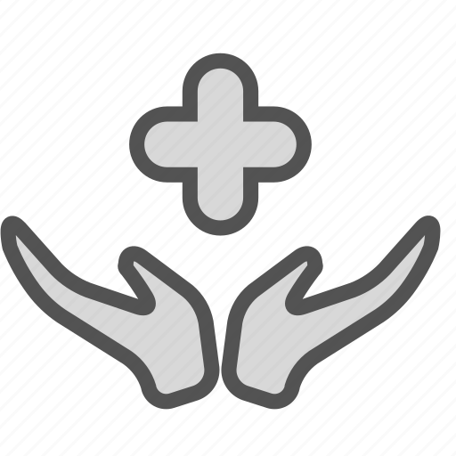 care, cross, hands, medical icon