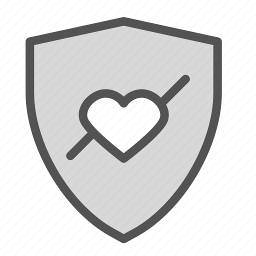 care, heart, protection, shield icon