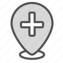 cross, hospital, mark, medical, pin icon