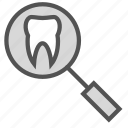 glass, magnifying, search, teeth icon